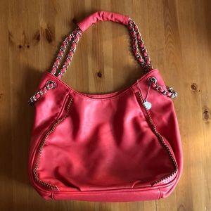 Big Buddha coral leather handbag